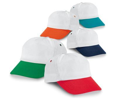 Бяла шапка с цветна козирка