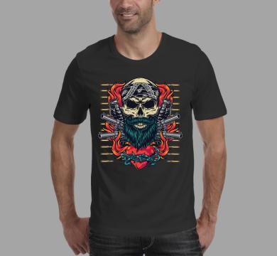 Тениска с щампа Skull & Guns