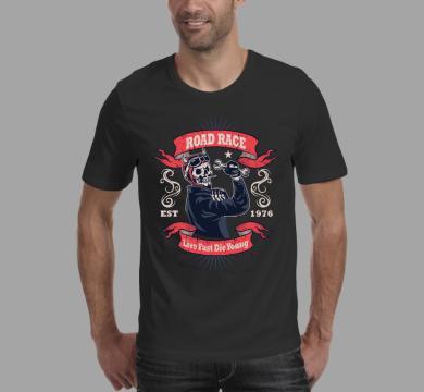 Тениска с щампа Road race, live fast, die young