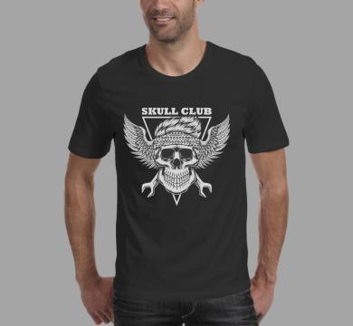 Тениска с щампа Skull club