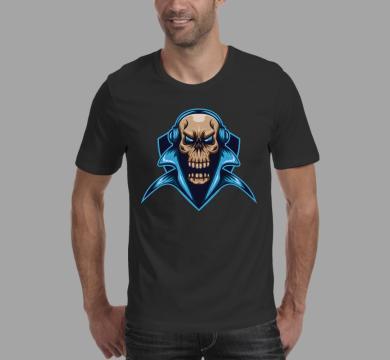 Тениска с щампа Skull & blue headphones