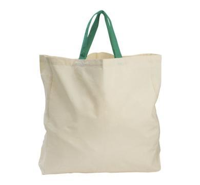 Памучна чанта със зелени дръжки
